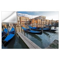 Gondolas Moored On The Grand Canal; Venice, Italy Wall Decal