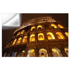 Night Lights Of The Colosseum; Rome Lazio, Italy Wall Decal