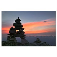 Innukshuk On The Top Of Whistler Mountain, Alberta Poster