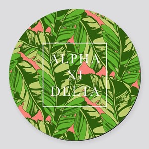 Alpha Xi Delta Banana Leaves Round Car Magnet