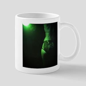 Sexy girl in camouflage bikini in green light Mugs