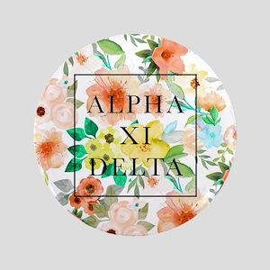 "Alpha Xi Delta Floral 3.5"" Button"