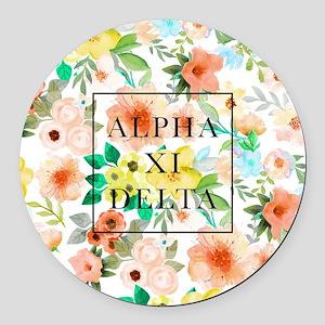 Alpha Xi Delta Floral Round Car Magnet