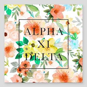 """Alpha Xi Delta Floral Square Car Magnet 3"""" x 3"""""""