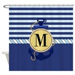 Nautical Blue Anchor Monogram Shower Curtain