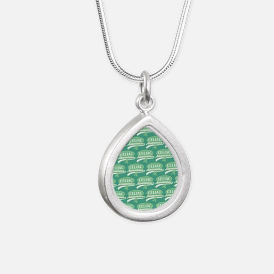 Sherbet Polka Dots Silver Teardrop Necklace