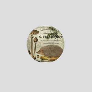 modern vintage woodland hedgehog Mini Button