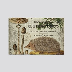 modern vintage woodland hedgehog Magnets