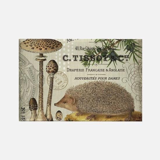 modern vintage woodland hedgehog Magnets