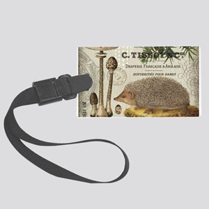 modern vintage woodland hedgehog Luggage Tag