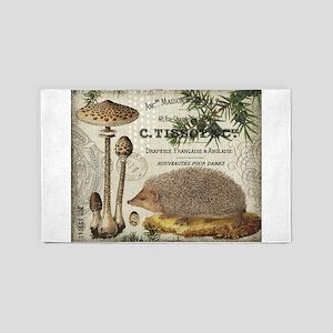 modern vintage woodland hedgehog 3'x5' Area Rug