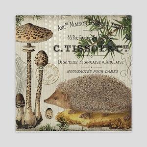 modern vintage woodland hedgehog Queen Duvet