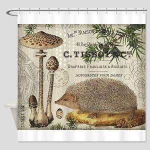 modern vintage woodland hedgehog Shower Curtain