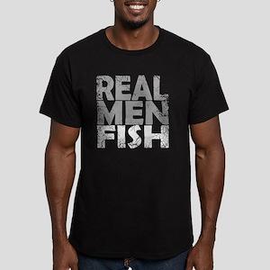 REAL MEN FISH WHITE Men's Fitted T-Shirt (dark)
