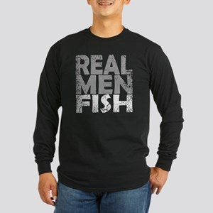 REAL MEN FISH WHITE Long Sleeve Dark T-Shirt