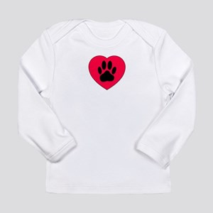 Red Heart With Dog Paw Print Long Sleeve T-Shirt