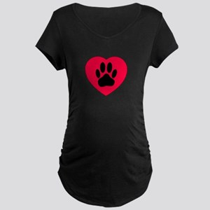 Red Heart With Dog Paw Print Maternity T-Shirt