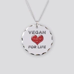Vegan For Life Necklace Circle Charm