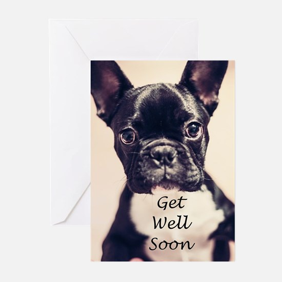 Get Well Soon French Bulldog Greeting Cards