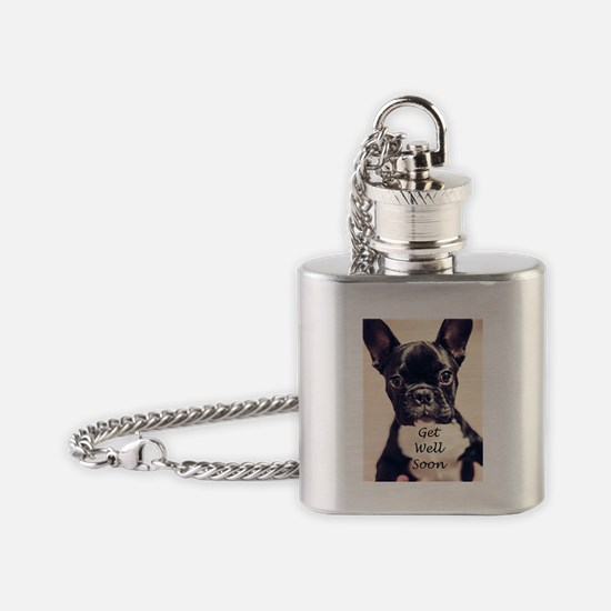 Get Well Soon French Bulldog Flask Necklace
