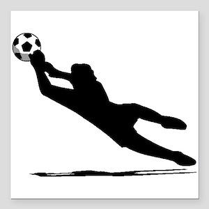 """Soccer Goalie Silhouette Square Car Magnet 3"""" x 3"""""""