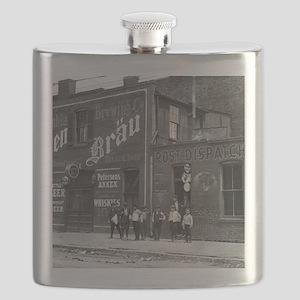 Newsboys Outside a Saloon, 1910 Flask