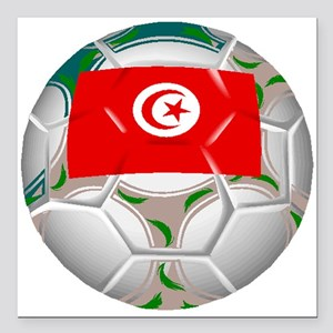 "Tunisia Soccer Ball Square Car Magnet 3"" x 3"""