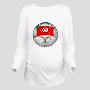 Tunisia Soccer Ball Long Sleeve Maternity T-Shirt