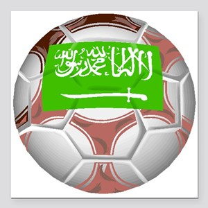 "Saudi Arabia Soccer Ball Square Car Magnet 3"" x 3"""