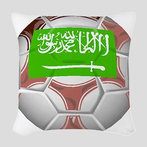 Saudi Arabia Soccer Ball Woven Throw Pillow