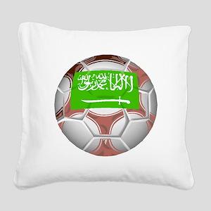 Saudi Arabia Soccer Ball Square Canvas Pillow