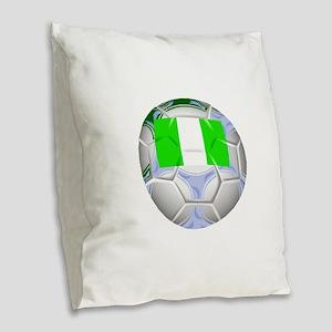 Nigeria Soccer Ball Burlap Throw Pillow
