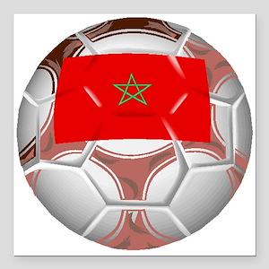 "Morocco Soccer Ball Square Car Magnet 3"" x 3"""