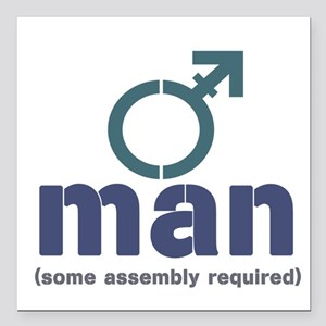 "T-Man Assembly Square Car Magnet 3"" x 3"""