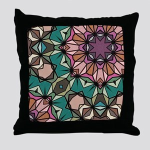 colorful pattern retro geometric Throw Pillow