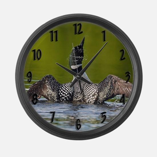 Cute Call of loon Large Wall Clock