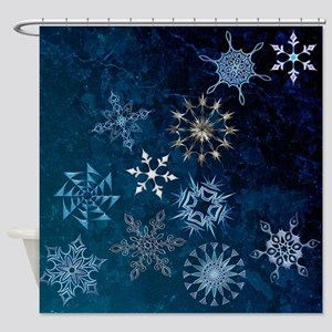 Harvest Moons Snowflakes Shower Curtain