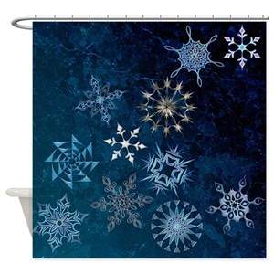 Silver Snowflake Shower Curtains