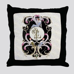 Monogram Letter L Barbier Cabaret  Throw Pillow
