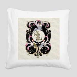 Monogram Letter L Barbier Cab Square Canvas Pillow