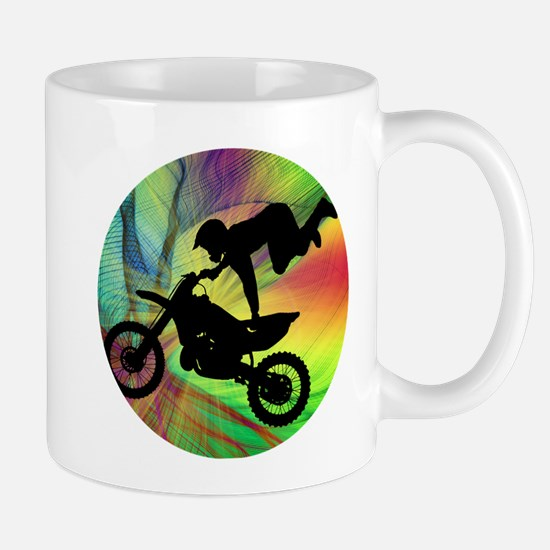 Motocross in Psychedelic Spider Web Mugs