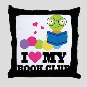 Book Club Bookworm Throw Pillow
