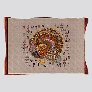 Metal Thanksgiving Turkey Pillow Case