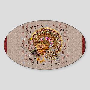 Metal Thanksgiving Turkey Sticker (Oval)