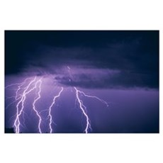 Lightning And Thunderclouds Framed Print
