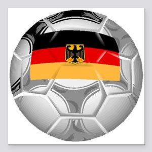"Germany Soccer Ball Square Car Magnet 3"" x 3"""