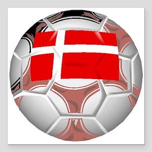 """Denmark Soccer Ball Square Car Magnet 3"""" x 3"""""""