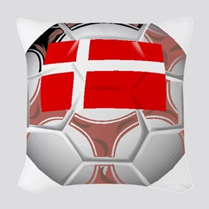 Denmark Soccer Ball Woven Throw Pillow