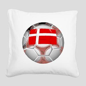 Denmark Soccer Ball Square Canvas Pillow