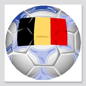 "Belgium Soccer Ball Square Car Magnet 3"" x 3"""